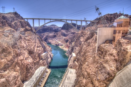 Hoover Dam Bypass bridge crosses the Colorado River downstream from the Hoover Dam photo