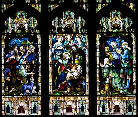 stained glass church: Stained glass windows at church reflecting religious figures Editorial