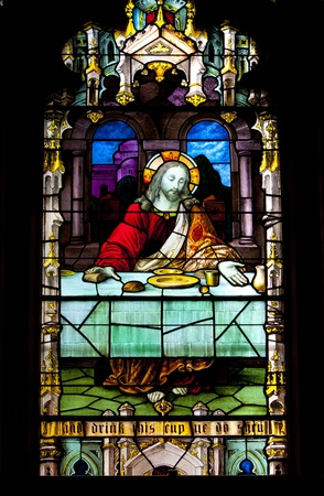 stained glass windows: Stained glass windows at church reflecting religious figures Editorial