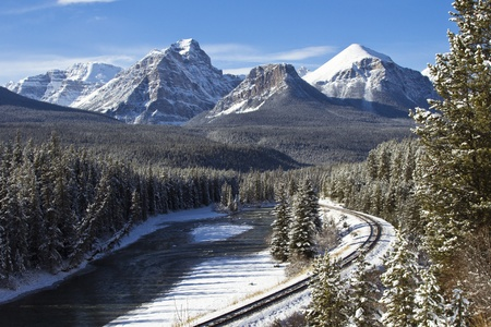 Railway line through the winter wonderland of the Canadian Rockies photo