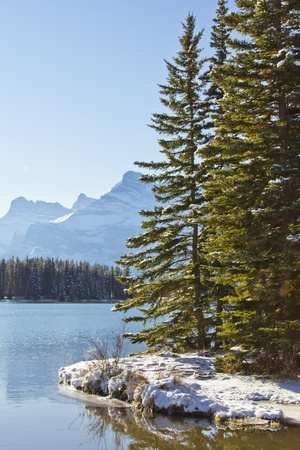 Icy waters of the Two Jack Lake in Banff National Park, Alberta, Canada