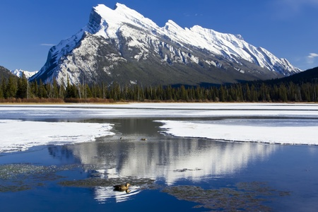 Mount Rundle reflected in the icy waters of Vermillion Lakes near Banff, Alberta, Canada