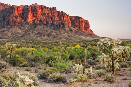 superstition: The Superstition Mountains are a range of mountains in Arizona located to the east of the Phoenix area.