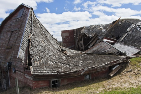 A long and harsh winter with plenty of snow caused this barn to be crushed