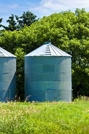 Steel grain bins along the trees photo