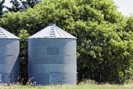 Steel grain bins along the trees 免版税图像