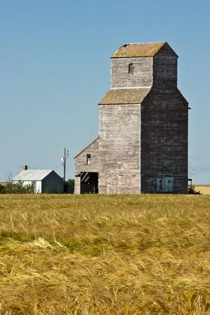 Old grain elevator in the ghost town of Lepine on the Canadian prairies photo
