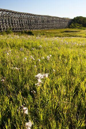 trestle: Old Railway Trestle Bridge on the Canadian Prairies