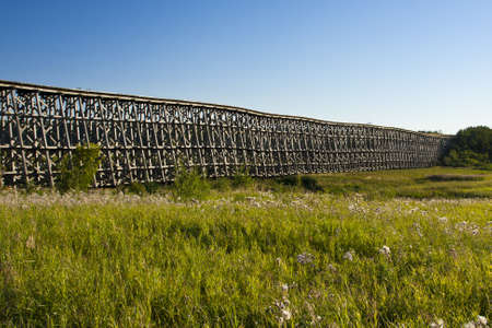 The Old Railway Trestle Bridge between Yellow Creek and Meskanaw on highway 41, Saskatchewan, Canada Stock Photo - 12175176