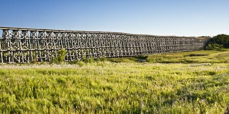 days gone by: Old abandoned train trestle reminds us of days gone by Stock Photo