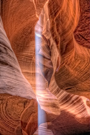 Sun beam in Antelope canyon, Arizona photo