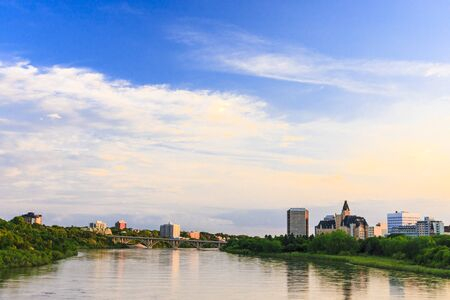 Saskatoon cityscape by the South Saskatchewan River. photo