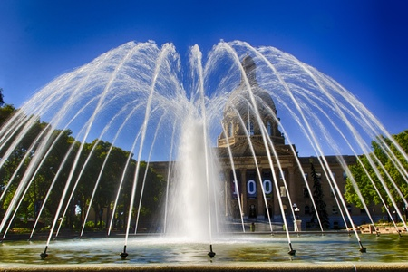 Water fountain in front of the Alberta Legislature Building is located in Edmonton, Alberta in Western Canada Editorial