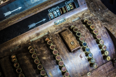 An old rusty antique cash register photo