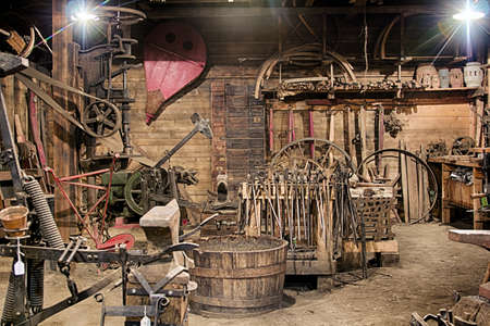 heavy industry: Inside the building of an Blacksmith Shop with all the tools