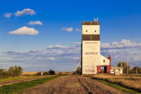 White grain elevator in Aberdeen, Saskatchewan.