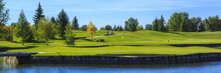 골프 코스에서 따뜻한 여름 하루에 두 개의 골프 카트