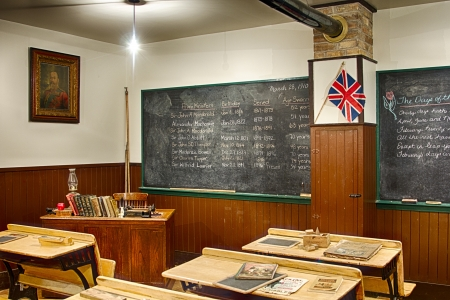 Old classroom with vintage desks and books