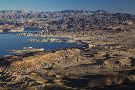 mead: Aerial view of the shoreline of Lake Mead and the Colorado River