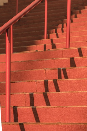hand rail: Details of red steps and hand rail