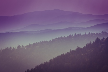great smokies: Amazing view from Clingmans Dome, Great Smoky Mountains National Park, Border of North Carolina and Tennessee