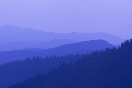 ridge: Amazing view from Clingmans Dome, Great Smoky Mountains National Park, Border of North Carolina and Tennessee