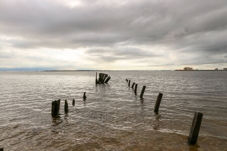Pilings in the bay