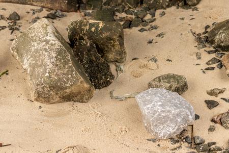 Sandy beach rocks