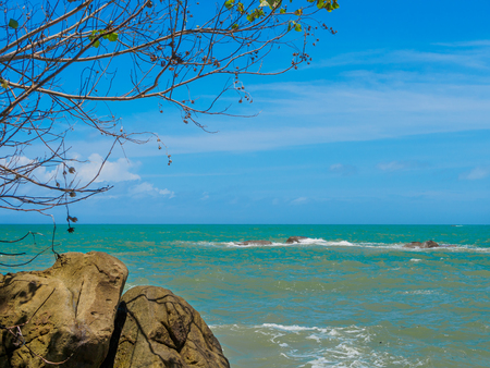 Rocks, sea tree and blue sky at Khaolak-Lumru National Park Phang-nga, Thailand