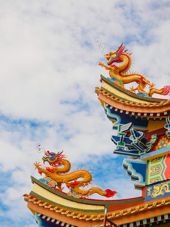 Dragon sculpture on the roof with beautiful color