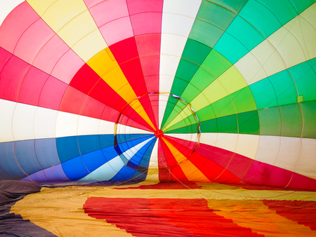 Multi colored hot air balloon view from inside Stock Photo