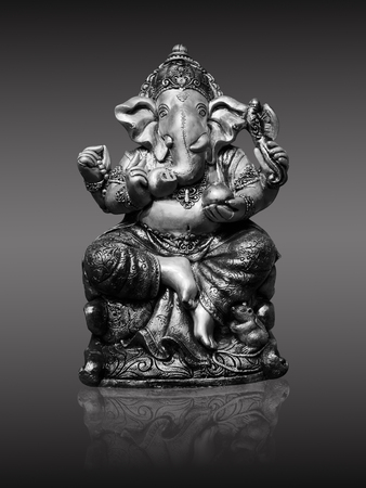 path to wealth: Black and white of Ganesh Elephant god statue. Lord of Success
