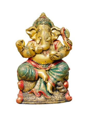 Golden Hindu God Ganesha Lord of Success isolate on white background