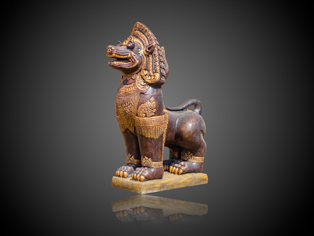 stone lion: Asian Imperial Lion Statue isolate on gradient Black and white background