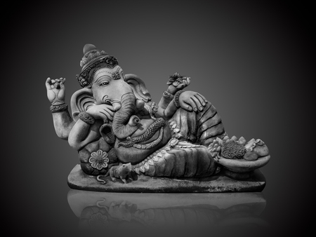 Black and white ofHindu God Ganesha Lord of Success isolate on gradient Black and white background