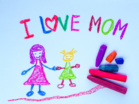 Kid drawing of mother holding her daughter for happy mothers day theme