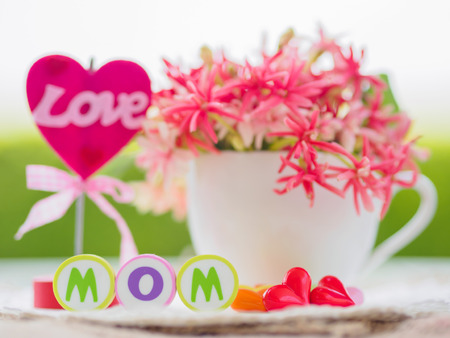 mothers day concept.  LOVE MOM alphabet with colorful heart and flower on background