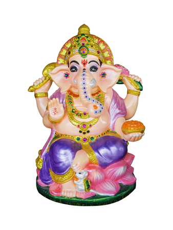 Hindu God Ganesha Lord of Success isolate on white background with Clipping path
