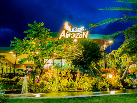 Songkhla, Thailand - September 9, 2017: Cafe Amazon coffee shop with blue sky background. Café Amazon has been in the coffee business for 11 years since 2002.