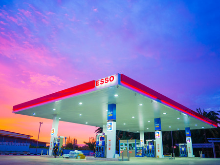 Krabi, Thailand - September 1, 2017: ESSO gas station. Esso gas stations and products including gasoline, diesel, motor oil, gift cards, credit cards and more Editorial