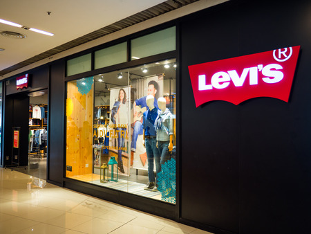 Penang, Malaysia - Jul 8, 2017: Levis store in shopping center. Levi Strauss & Co. is a privately owned American clothing company known worldwide for its Levis brand of denim jeans.
