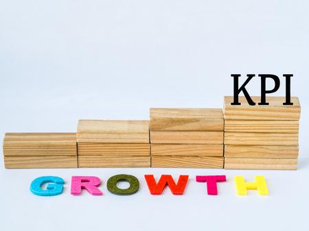 Houten blok zoals een trap met KPI en de Groeiwoorden op witte achtergrond.