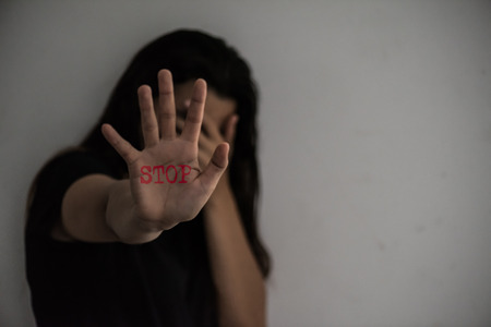 Woman hand sign for stop abusing violence, Human Rights Day concept.