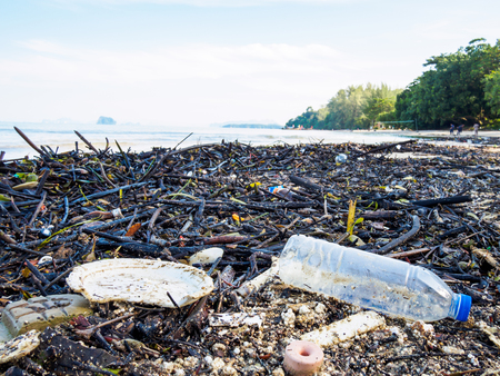 Garbage on a beach, environmental pollution of the sea concept.