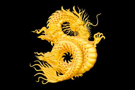 中国の新年のための黒い背景に黄金のドラゴン。 写真素材