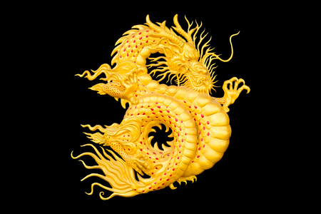 golden dragon on black background for chinese new year.