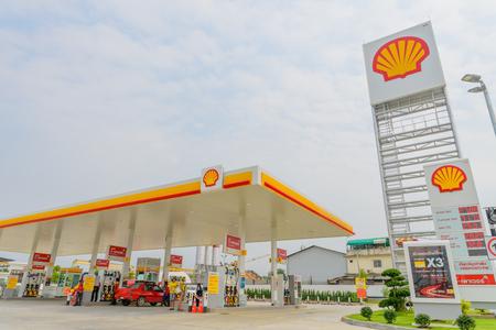 Pattaya, Chonburi, Thailand - Feb 3, 2018: Shell gas station blue sky background during sunset. Royal Dutch Shell sold its Australian Shell retail operations to Dutch company Vitol in 2014