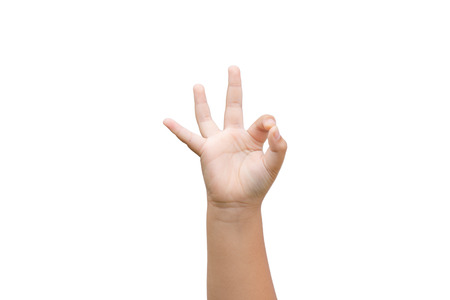 Boy hand showing ok sign on white background