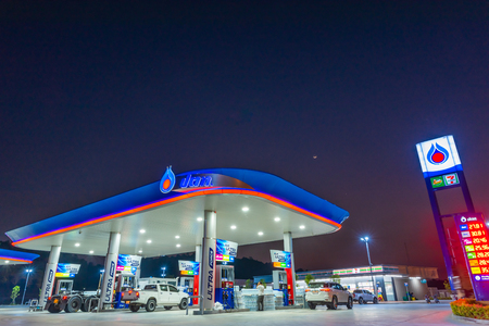 Si Racha, Chonburi Thailand - April 18, 2018: PTT gas station. PTT Public Company Limited or simply PTT is a Thai state-owned SET-listed oil and gas company.Formerly known as the Petroleum Authority of Thailand.