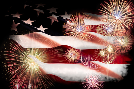 USA Independence day, 4 July. Close up United States of America flag with fireworks background.